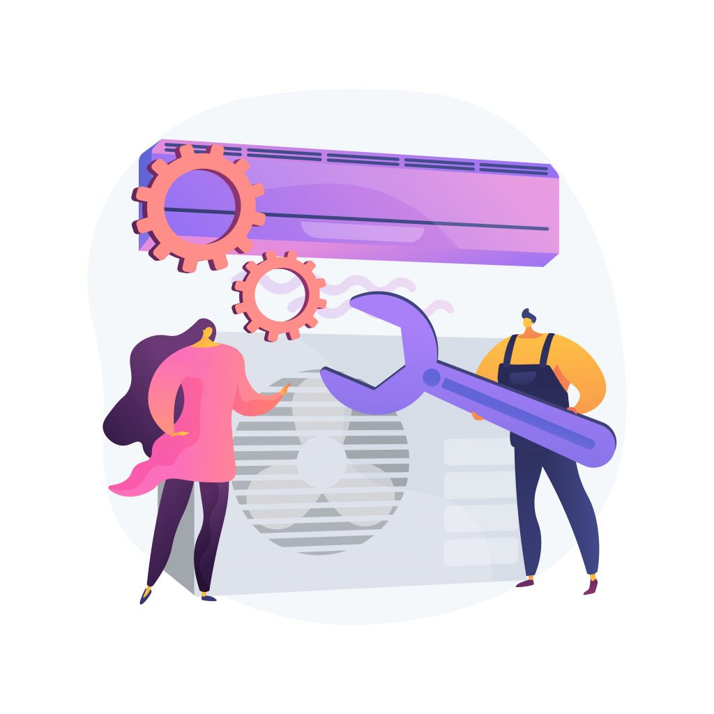 Air conditioning and refrigeration services abstract concept vector illustration.
